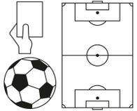Ballon de football de schéma, champ, ensemble d'icône de carte d'arbitre illustration stock