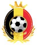 Ballon de football sur le drapeau de la Belgique illustration stock