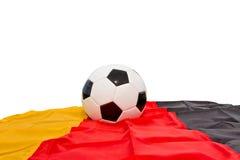 Ballon de football un drapeau allemand Photos stock
