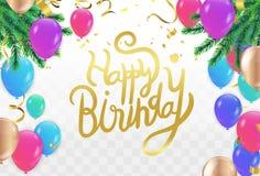 Ballon de joyeux anniversaire coloré avec l'espace libre de livre blanc de confettis et de flammes Fond transparent illustration stock
