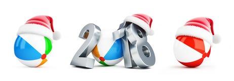 2018 ballon de plage de chapeau de Santa sur une illustration blanche du fond 3D, rendu 3D Photo stock