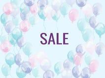 Ballon de vente Ballon rose de l'hélium quatre accrochant dans une rangée avec la vente de lettres Bannière de la publicité pour  Image stock