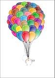 Ballon de vol avec le chat mignon Photos stock