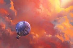 Ballon die in de hemel met rode wolken drijven vector illustratie