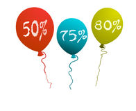 Ballon in discount. Red, green and red ballon discount Royalty Free Stock Image