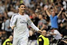 Ballon Dor Cristiano Ronaldo 2013 av Real Madrid firar göra poäng mål Arkivfoto