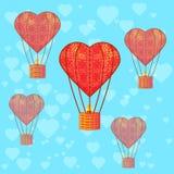 ballon Een hart Naadloos beeld Stock Afbeelding