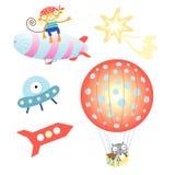 Ballon en luchtschip royalty-vrije illustratie