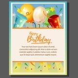 Ballon et confettis vifs d'affiche de thème de joyeux anniversaire illustration de vecteur