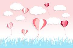 Ballon för moln och för förälskelse för valentindagbakgrund med papperssnitteffekt arkivfoton