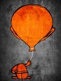 Ballon head. Orange man with ballon head digital illustration Stock Photography