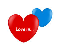Ballon hearts red and blue love is. Vector illustration Royalty Free Stock Photo