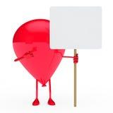Ballon hold billboard. Red ballon hold billboard on white background Royalty Free Stock Photos