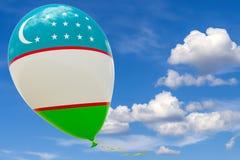 Ballon mit dem Bild der Staatsflagge von Usbekistan, fliegend durch den blauen Himmel 3D Wiedergabe, Illustration mit Kopienraum lizenzfreie abbildung