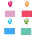 Ballon mit Satzvektor der leeren Karte Lizenzfreie Stockfotografie