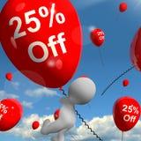 Ballon mit 25% weg vom Zeigen des Rabattes von fünfundzwanzig Prozent Stockfoto