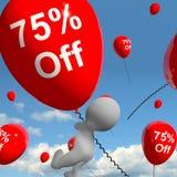 Ballon mit 75% weg vom Zeigen des Verkaufs-Rabattes von fünfundsiebzig Perce Lizenzfreie Stockbilder