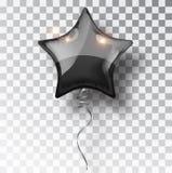 Ballon noir d'étoile sur le fond transparent Décoration de conception d'événement de ballons de partie Air d'isolement par ballon Photo libre de droits