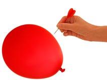 Ballon om te gaan pop klap, - bedrijfsmetafoor Royalty-vrije Stock Fotografie