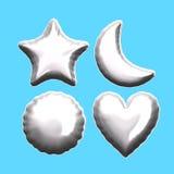 Ballon rond de coeur de lune d'étoile d'aluminium argenté Photographie stock libre de droits