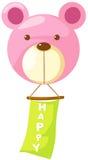 Ballon rose d'ours avec le signe heureux Photo stock