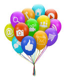 ballon social de media Image libre de droits
