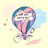 Ballon with text will you marry me and flower.  Stock Photography