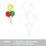 Ballon to be traced. Vector trace game. Ballon in vector to be traced. Restore dashed line and color the picture Royalty Free Stock Image