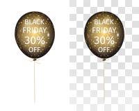 Ballon translucide avec des paillettes d'or avec inscription noir les pour cent du vendredi 30  illustration de vecteur