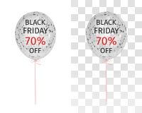 Ballon translucide avec des paillettes d'or avec l'inscription Black Friday 70 pour cent  illustration stock
