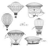 Ballon-und Luftschiff-Gekritzel-Satz Stockbilder
