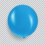 Ballon van de blauwe vector van het kleuren realistische die ontwerp op transp wordt geïsoleerd Stock Foto