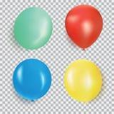 Ballon van de verschillende vector van het kleuren realistische die ontwerp op transparante achtergrond wordt geïsoleerd Ballons  Royalty-vrije Stock Foto