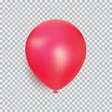 Ballon van vector van het rode kleuren de realistische die ontwerp op transparante achtergrond wordt geïsoleerd Ballon van rubber Royalty-vrije Stock Foto's