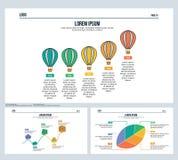 Ballon woda, timenline, zysk, liść, ustawia prezentaci obruszenie i Powerpoint szablon Zdjęcia Stock
