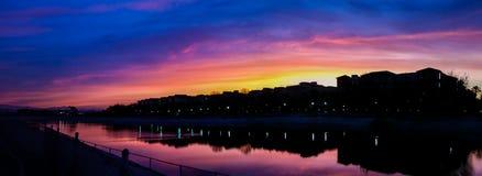 Ballona Creek sunrise. Colorful sunrise over the homes along Ballona Creek in Playa Vista, California Stock Photos