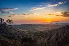 Ballona Wetlands Sunset. Dynamic sunset over the Ballona Wetlands from a scenic viewpoint on the Bluff Trail, Los Angeles, California Royalty Free Stock Image