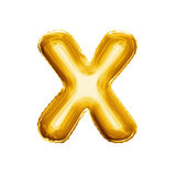 Ballonbrief X 3D gouden folie realistisch alfabet Stock Foto's