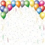Ballone, Confetti und serpantine Lizenzfreies Stockbild