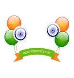 Ballone in der traditionellen Trikolore der indischen Flagge Stockfotografie