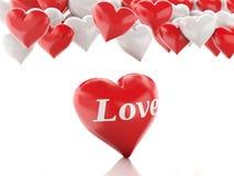 Ballone des Inner-3D Roter heart-shaped Schmucksachegeschenkkasten und eine rote Spule auf einem Zeichen Lizenzfreies Stockbild