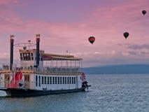 Ballone des Steamboat und der Heißluft Stockfoto