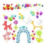 Ballone färben glattes aufgeblasen in den verschiedenen eingestellten Ballonform-Vektorikonen stock abbildung