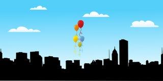 Ballone für Partei mit Stadtansicht Lizenzfreie Stockbilder