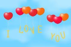 Ballone mit einer Liebeserklärung. Stockbild