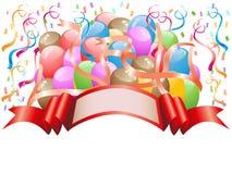 Ballone mit Feierfahne Lizenzfreies Stockfoto