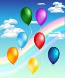 Ballone mit Regenbogen Stockfoto