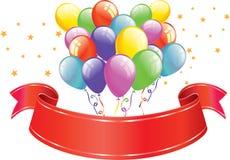 Ballone u. Fahne Stockbilder