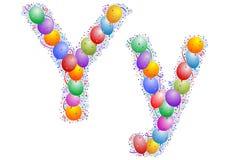 Ballone und Confetti â Lett Lizenzfreies Stockfoto