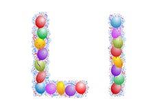 Ballone und Confetti â Zeichen L Stockfoto
